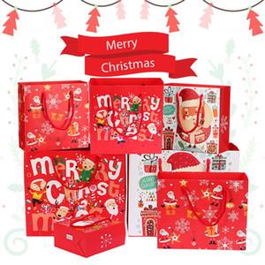 7pcs Sacs-cadeaux de Noël Santa Sacs Kraft Paper Sac Sac Enfants Fête Box Décorations de Noël pour la maison