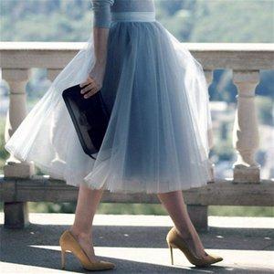 5 слоев 60 см Принцесса MIDI Tulle юбка плиссированные танец TUTU Womens Lolita Petticoat Jupe Saia Faldas Party Y юбок