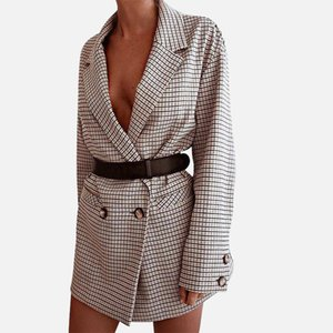 Checked Office Lady Blazer Women Mini Dress Plaid Long Sleeve Oversized Jacket 2020 Spring Autumn Casual Streetwear Dresses LJ201021