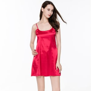 Ropa de dormir de verano de moda Vestido de noche de mujer Ropa interior Tamaño de seda sin mangas pijamas S923
