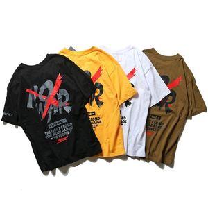 Fashionable men's short sleeve spring   summer new fashion hip hop loose graffiti English printed T-shirt for men