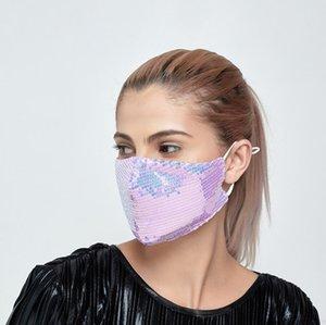 Coton Sequin 6 Masques de visage en tissu Masques minces Couleurs du soleil respirant Anti-poussière pour DHB177 Masque lavable réutilisable Creen UVAHV