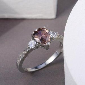 Huitan Trend Trend Pera Stufe Stone Donna Anello Anello Proposta Anelli per Fidanzata Semplice Design Luxury CZ Versatile Femminile Rings1