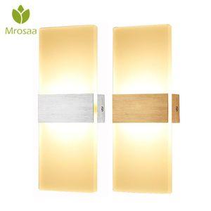 MRSAA 220V 6W Modern Acrílico Lâmpada de Parede LED Sconce Retângulo Luz Retângulo Quente Branco Branco Luz branca para escadas do corredor do quarto