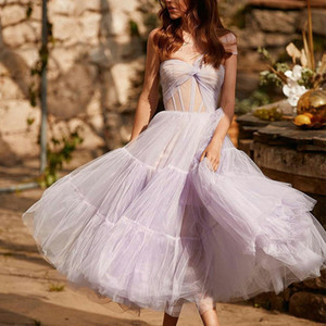 2021 Light Purple Cocktail Dresses One Shoulder Tulle Tea Length Cheap Prom Dress for Women Custom Made Homecoming Gowns