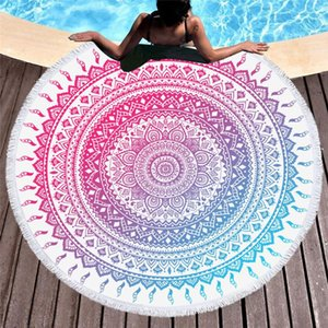 Mandala Round Beach Towel With Tassels Microfiber Bath Towel Summer Sport Yoga Mat Large Roundie Beach For Adults Kids