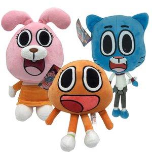 3 unids lindo gato conejito juguete peluche cumpleaños regalo regalos para niños Kidspartoon Amazing World Gumball Darwin Anais Muñeca LJ201126