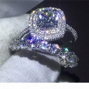 K Infinity Jewelry Female 925 Sterling Silver Ring Set Full 5a Zircon Cz Stone Engagement Wedding Band Rings For Women Gift