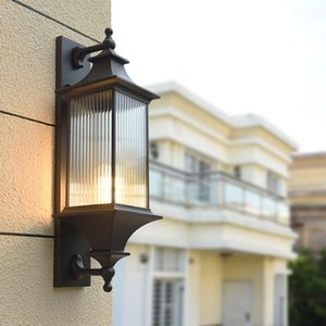 Ao ar livre Chinês Corredor Luz de Parede Ao Ar Livre Porta Impermeável Pátio Pátio Villa Villa LED Antique Balcony Lamp