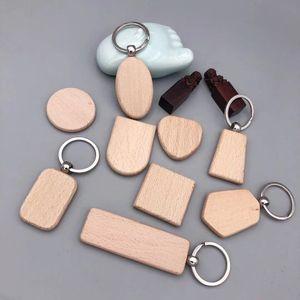 Creative blank wooden key chain wooden heart-shaped elliptical key buckle pendant Keychains bag car pendant Party Favor