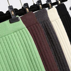 Mid-long Knitted Half-length Skirt Womens High waist One-step Skirt Autumn And Winter Hip Skirt Open-forked Elegant Skirts