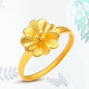 1PCS Real Pure 24K Yellow Gold 3D Charm Flower Ring Band Women Girl Thin Ring US 5-8 J0112