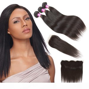Unprocessed Brazilian Virgin Hair Wefts with Closure Straight Human Hair Weaves 3 Bundles With Frontal Accessories Remy Hair Extensions