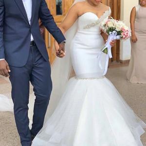 Elegant Mermaid Wedding Dresses 2021 Bridal Gowns African Bride Dresses Sexy O Neck Illusion Back Beading Crystal Plus Size Marriage Dress