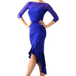 New Latin Dance Dress Dress Royal Blue Dress Party Outfit Donne Dance Ballroom Competition Competition Tango Costume per adulti