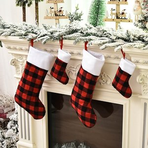 Christmas Stocking Red Buffalo Plaid Stocking Gift Candy Bag Christmas Tree Pendant Christmas Decoration Party Dress-up Supplies HH9-3651