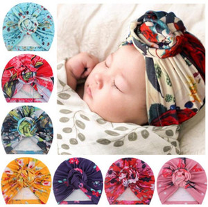 Printed Newborn Hat Toddler Boy Beanie Cap Baby Girl Turban Bonnet Infant Headwraps Baby Shower Props 9 Designs DW6383