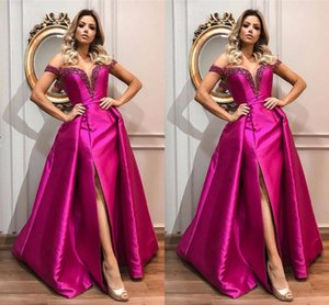 2021 Fuchsia Satin Prom Evening Gowns With Split Off The Shoulder Beaded A-line Special Occasion Party Dress Women Plus Size Formal Gowns