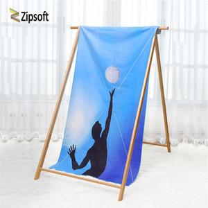 Zipsoft Beach Полотенце Микрофибра Быстрый сухой Волейбол Узор Большой Размер 80 * 160см Печатная Кемпинг Путешествия Спортивная Баня