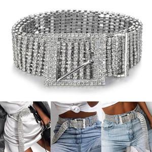 2020 Fashion Women Belts 10 Rows Full Rhinestone Shiny Waistband Casual Party Dress Belt Chain