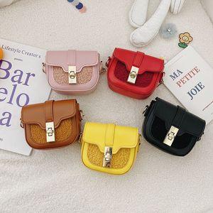 Free DHL New INS Quality Kids Toddler Girls PU Purse Spring Autumn Fashions Steetwear Patchwok Handbag Children School One-shoulder Bags