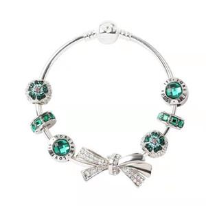 Neue Mode 925 Silber Armbänder Charm Armband Bogen Knoten Armbänder Charme Perlen Bangle DIY Schmuck für Weihnachten und Valentinstag Geschenk