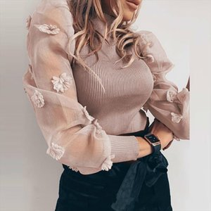 DEAT 2020 Spring Long Mesh Embroidery Transparent Sleeve Khaki Knitted Blouse Women Top MI210 Drop Shipping