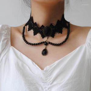 2020 fashion Gothic Victorian Crystal Tassel Tattoo Choker Necklace Black Beads Lace Choker Collar Vintage Women Wedding Jewelry1