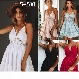 5XL Plus Size Womens Dresses Clothes Ladies Evening Dress Sexy Lace Halter Backless Suspender Skirt Summer Vest Pink Night Club Party Dress