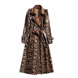 European and American women's winter clothing new Long sleeve lapel Leopard print lace-up Trench coat