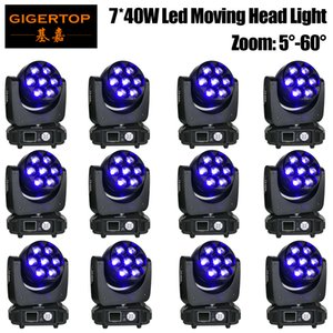 TIPTOP Stage Light 7 x 40W RGBW 4IN1 Color Led Moving Head Zoom Light No Lens Rotation Function Wash Beam 2in1 Effect Power Con x 12 units