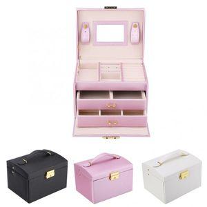 3 Tiers PU Leather Jewelry Storage Case Display Box Holder Organizer with Mirror Storage Box lipstick Jewelry Nail organizer Z1123