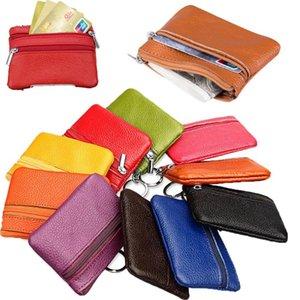 Soft Genuine Leather Men Women Mini Card Coin Key Holder Zip Clutch Handbag Pouch Bag Purse