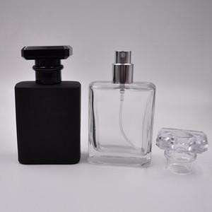 Taşınabilir Doldurulabilir Parfüm Sprey Şişesi 50 ML Boş Parfüm Flakon Siyah Temizle Pompa Püskürtücü Mist Atomizer ile RRD3044