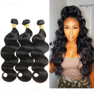 10A Brazilian Virgin Hair With Closure Extensions 3 Bundles Brazilian Body Wave Hair With 4x4 Lace Closure Unprocessed Remy Human Hair Weave