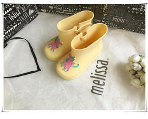 Kids Boots Unicorn Cartoon Baby Girls Rain Boots Children Water Shoes PVC Waterproof Rubber Mini Melissa Jelly Rainboots Winter