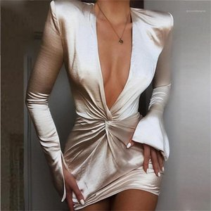 Dresses Fashion Natural Color Long Sleeve Dresses Sexy V-Neck Hip Package Dresses Women Clothing Women Designer Bodycon