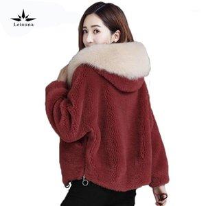 Leiouna Invierno suelto Teddy Bear Casual High Cintura Faux Mink Moda Furs Parka para mujeres Abrigos Cuero Femme Plus Size1