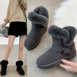 BJYL Winter Shoes Женщины плюшевые хлопковые лодыжки загрузки загрузки дизайн коренастые беговые нескользящие квартиры обувь для женских снежных ботинок