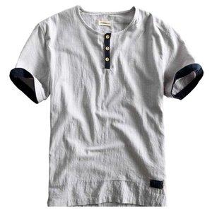 Schinteon Men Casual Cotton Linen Shirt Pullover Summer Thin Short Sleeve O Neck Collar Comfortable New Chinese Style F jllnnD