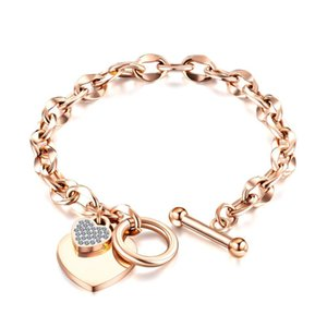 New Fashion Heart-shaped Zircon Bracelet Rose Gold Color OT Clasp Titanium Steel Jewelry Woman Gift Not Fade Drop Shipping J1204