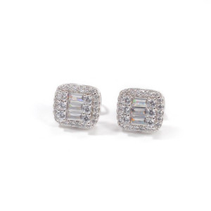 Simple square Mens Hip Hop Stud Earring CZ Zircon Ice Out Bling Gold Silver Color Copper Earrings for Men Hiphop Jewelry