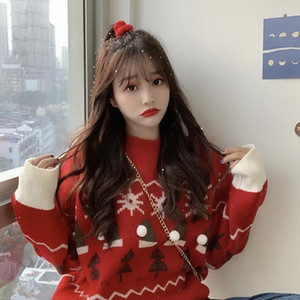 Autumn and Winter New Korean Style Loose and Lazy Style Christmas Tree Internet Hot Sweater Womens round Neck Thickened Long-Sleeved Sweater