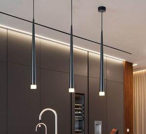 Nordic led chandelier long downlight Kitchen Restaurant Bar cone decorative chandelier bedside Chandelier