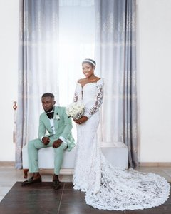 2021 Gorgeous Arabic Aso Ebi Full Lace Wedding Dresses Mermaid Long Sleeves Pearls Vintage Bridal Gowns Designer Vintage Wedding Wear
