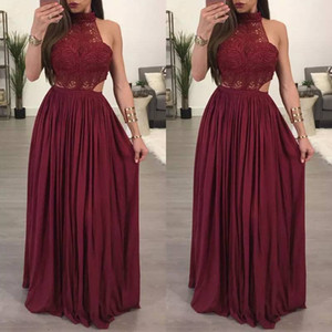 Burgundy Halter Bridesmaid Dresses Chiffon Draped Cutaway Sides Wedding Guest Dress Cheap Sexy robe de soirée de mariage