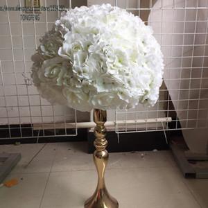Wedding Flower Wall Artificial Rosa Rosa Hydrangea Flower Ball Ball Tavolo da sposa Centrotavola Flower Ball Avorio 10pcs / lot Z1120