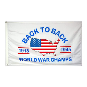 Back to Back Premium Flag 3 x 5 Foot World War Champs Banner High Quality With Brass Grommets