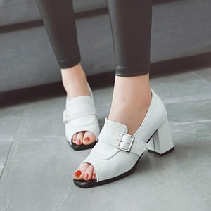 Big Size high heels sandals women shoes woman summer ladies High-heeled sandals with fishmouth and thick heels