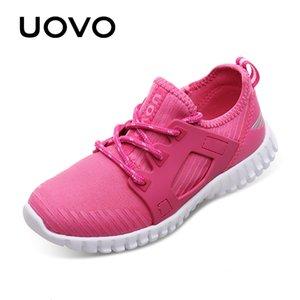 Uovo 2020 New Kids Стильные кроссовки Шнуровка закрытие Детская обувь Light-Weigth Удобная обувь для девочек Eur 31 # -37 # Y1118